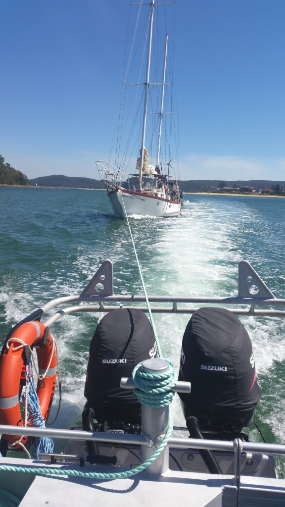 Central Coast 22 with 15.5m Ketch in tow