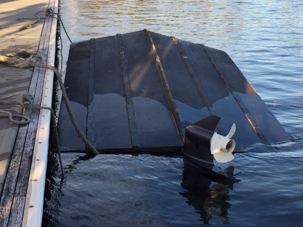 Workboat at pontoon at Gosford Sailing Club